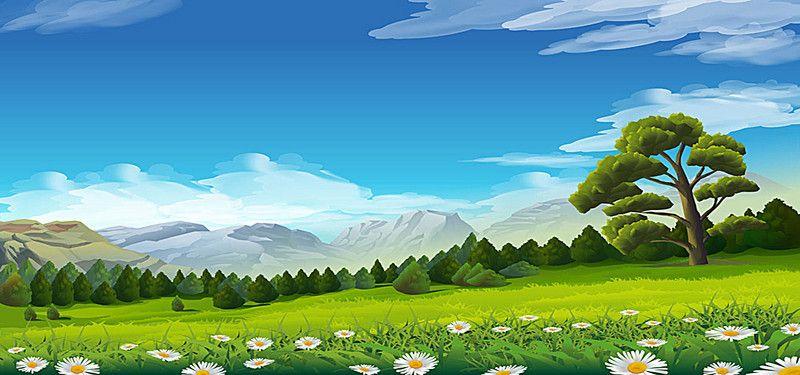 Cartoon Landscape Background Esboco De Paisagem Fotos