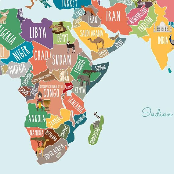 World map decal countries of the world map kids country world map discover notable landmarks and animals on each continent in our countries of the world map poster gumiabroncs Image collections