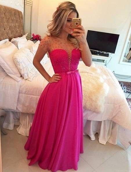 2e2ddcbfd vestido para madrinha pink, Vestido pink com renda bordada no busto e  pérolas, pearls, dress, dresses, cute, lovely, luxury, prom, wedding, made  of honor