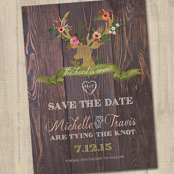 The Hunt Is Over Save The Date, Deer Save The Date, Deer