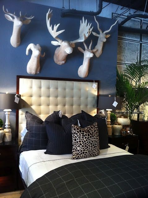 bedroom in blue with faux animal heads -- 56 Stylish and Sexy