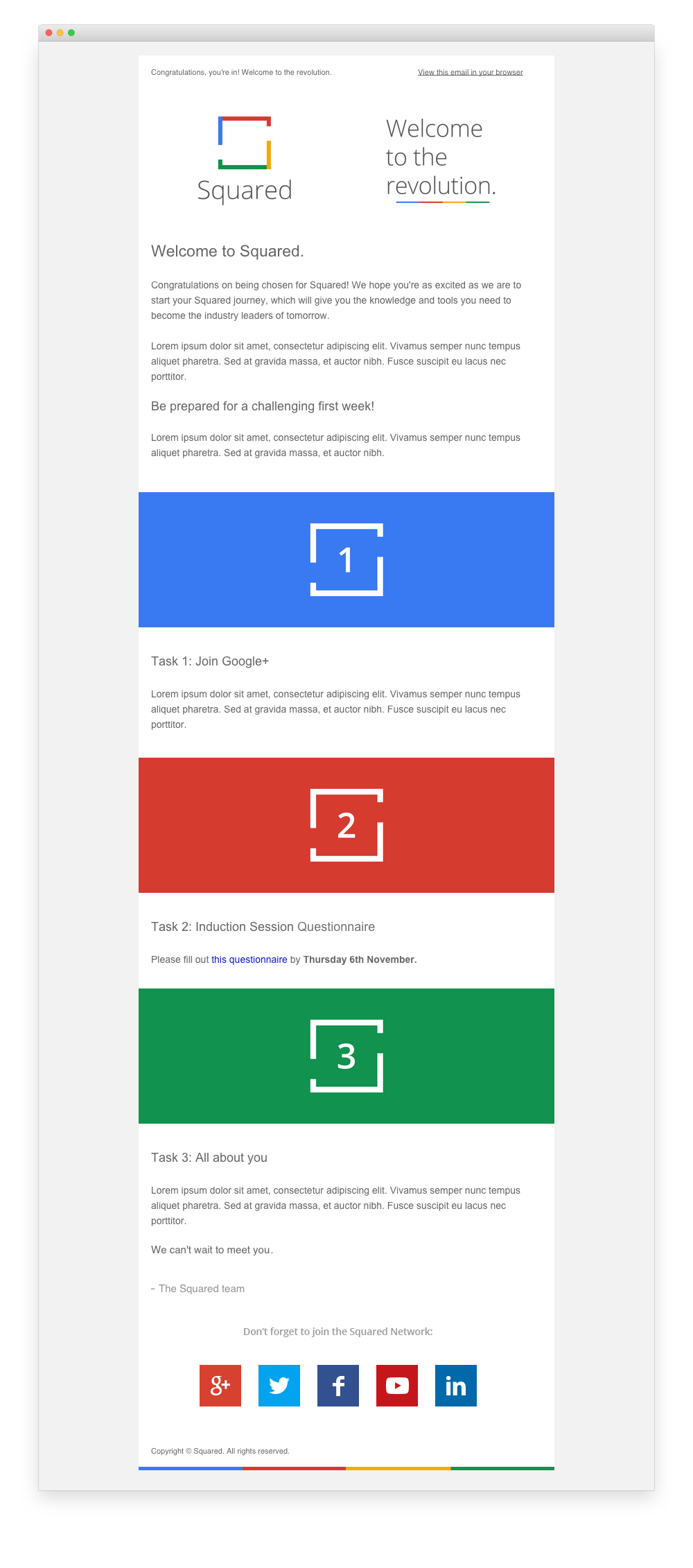 Google Squared Welcome Email Template Digital Design Pinterest