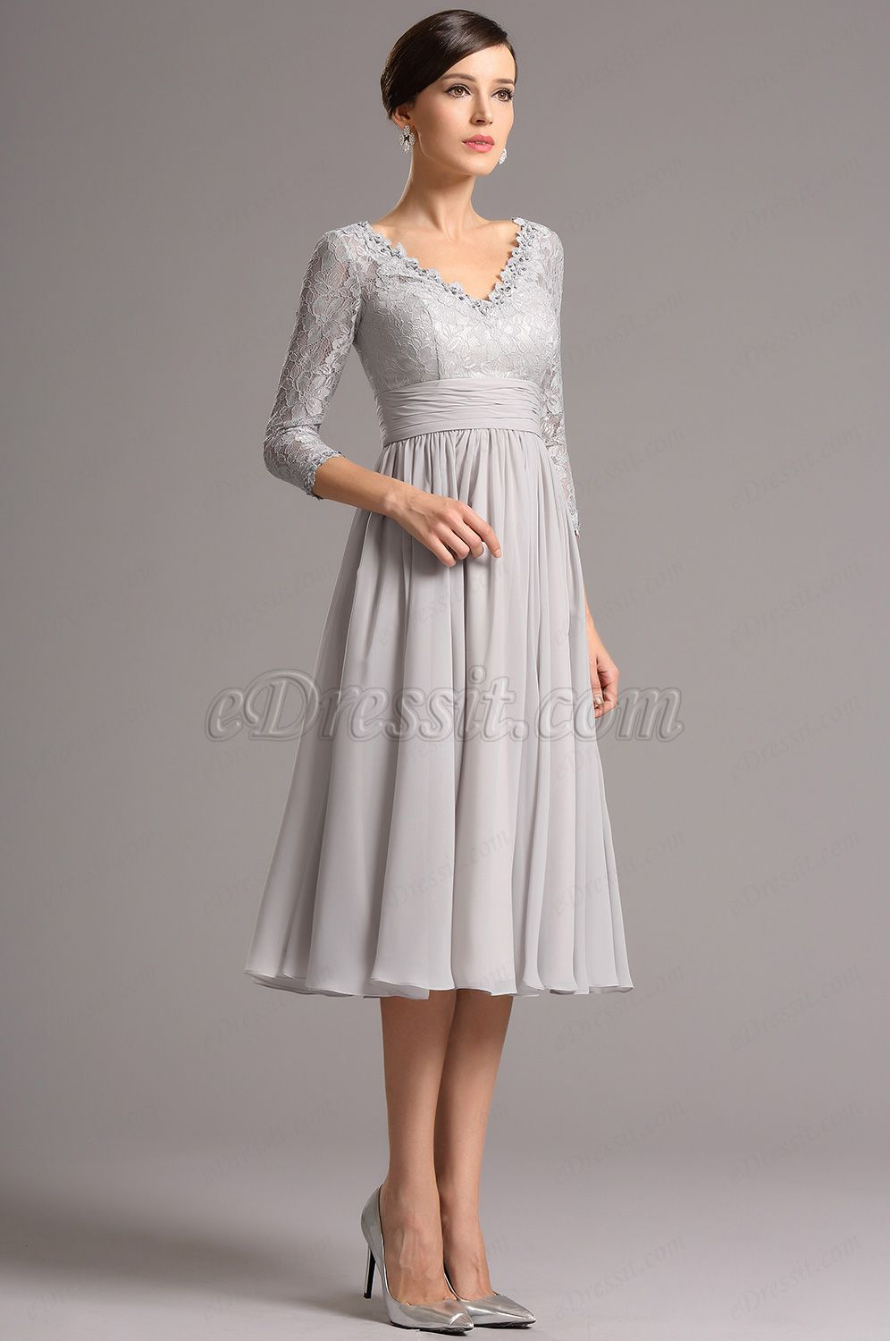 c172dbce7c01d Long Lace Sleeves Plunging Neck Grey Tea Length Dress (26160108) in ...