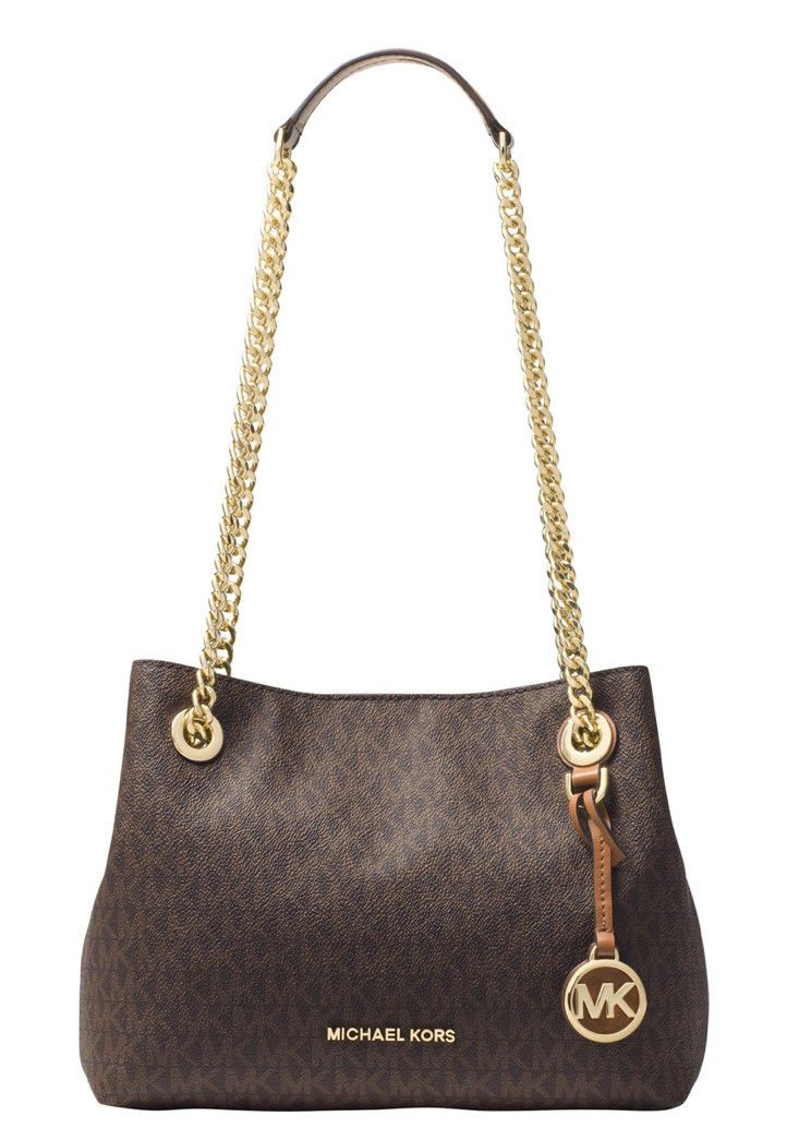 Michael Kors Jet Set Chain Medium Mk Signature Messenger Bag Brown 228 New