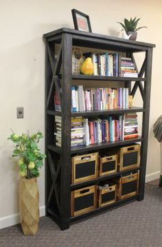 Rustic x book case do it yourself home projects from ana white rustic x book case diy projects solutioingenieria Images