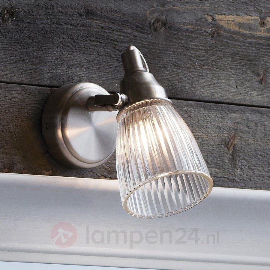 Lada - geribbelde wandlamp voor de badkamer, staal 6505543 | lampen ...