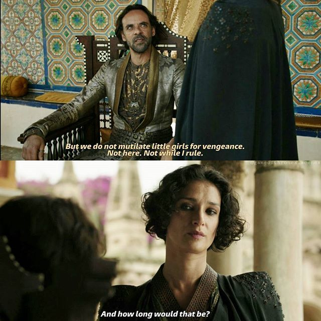 9 weeks / 63 days to go 💪 ... until then I will try to find some good scenes from the 'AMAZING' season 5 Dorne-storyline to post 😉 --- In Dorne Ellaria wants revenge for the death of Oberyn. Whenever she sees Myrcella Lannister walking through the gardens being happyly together with Trystane she is not able to control her hate. The girl must die to answer the prince's death. But Doran will not kill an innocent girl to avenge his brother. --- #ellariasand #indiravarma #doranmartell…
