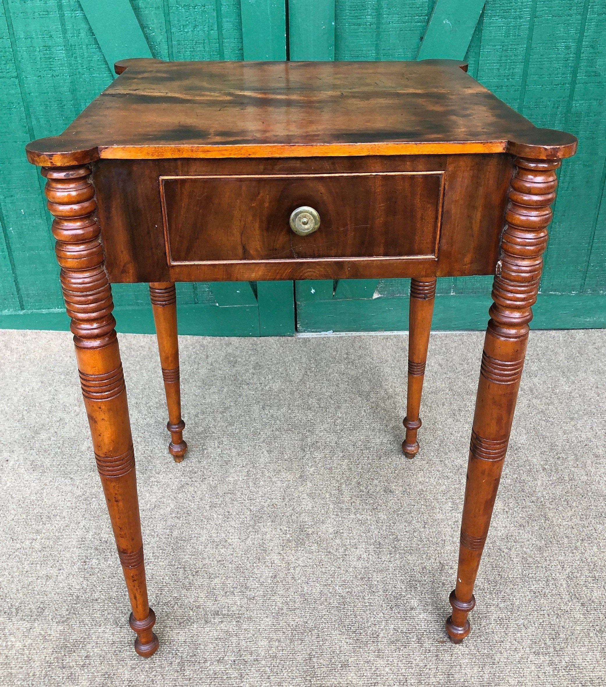 Antique One Drawer Table Hand Turned Legs Ball Feet Mixed Woods Artful Design Booboozbazaar In 2020 Mixed Wood Drawer Table Table