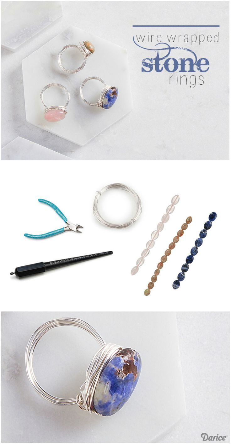 DIY Stone Rings Wrapped with Wire - Darice | Stone rings, Ring wraps ...
