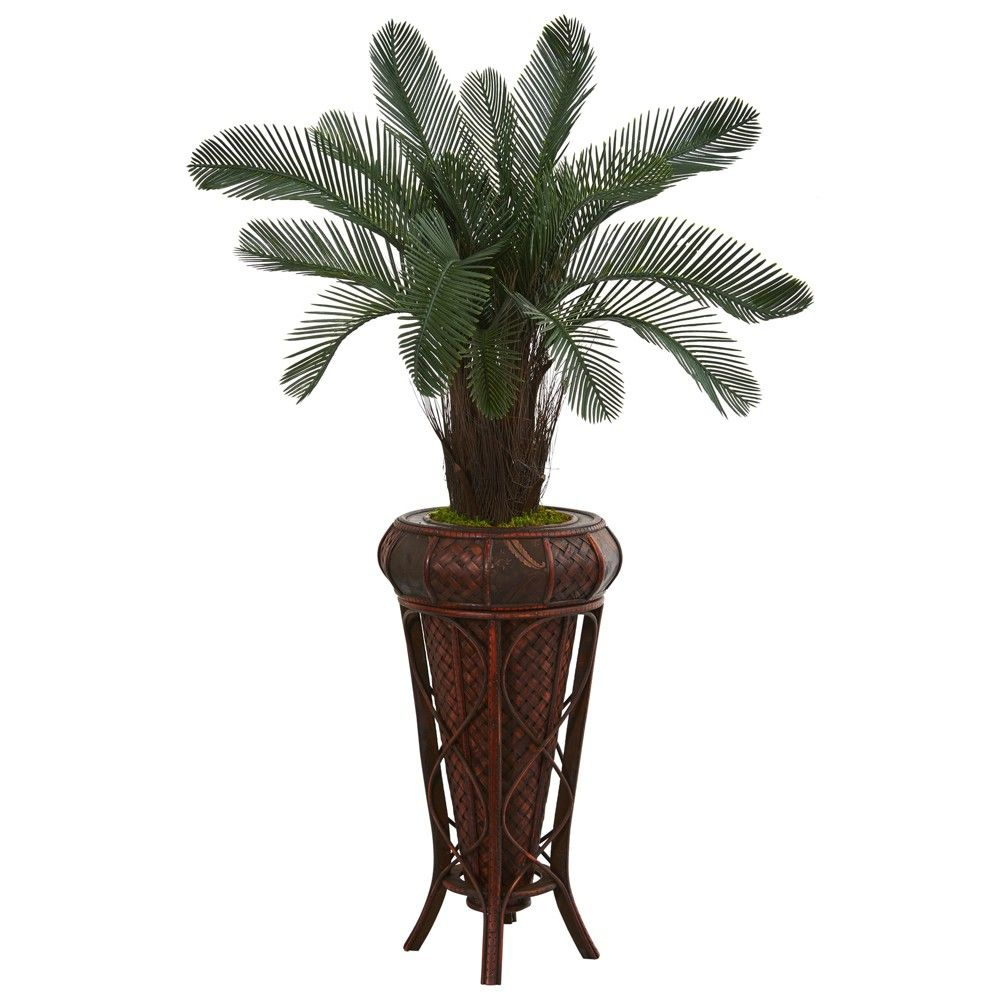 Ft cycas artificial tree in decorative stand nearly natural