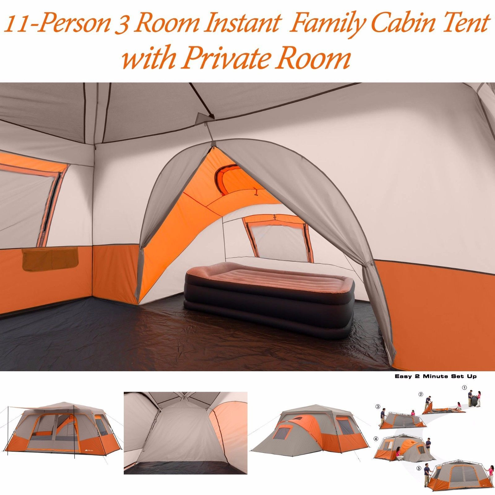 Ozark Trail 11 Person 3 Room Instant Cabin Family Large Tent C&ing OrangeBeige  sc 1 st  Pinterest & Ozark Trail 11 Person 3 Room Instant Cabin Family Large Tent ...