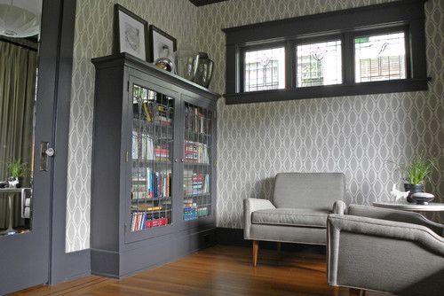 Modern gray wallpaper seamlessly works with the craftsman - wohnzimmer grau modern