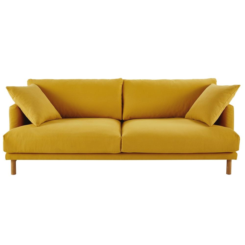 Canape 3 Places En Coton Et Lin Jaune Moutarde Maisons Du Monde In 2020 Linen Sofa Sofa Maisons Du Monde