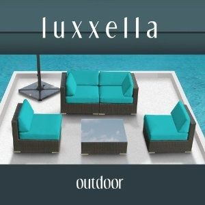 Genuine Luxxella Outdoor Patio Furniture   Wicker Contemporary Sofa Sectional BELLA 5pc Set TURQUOISE