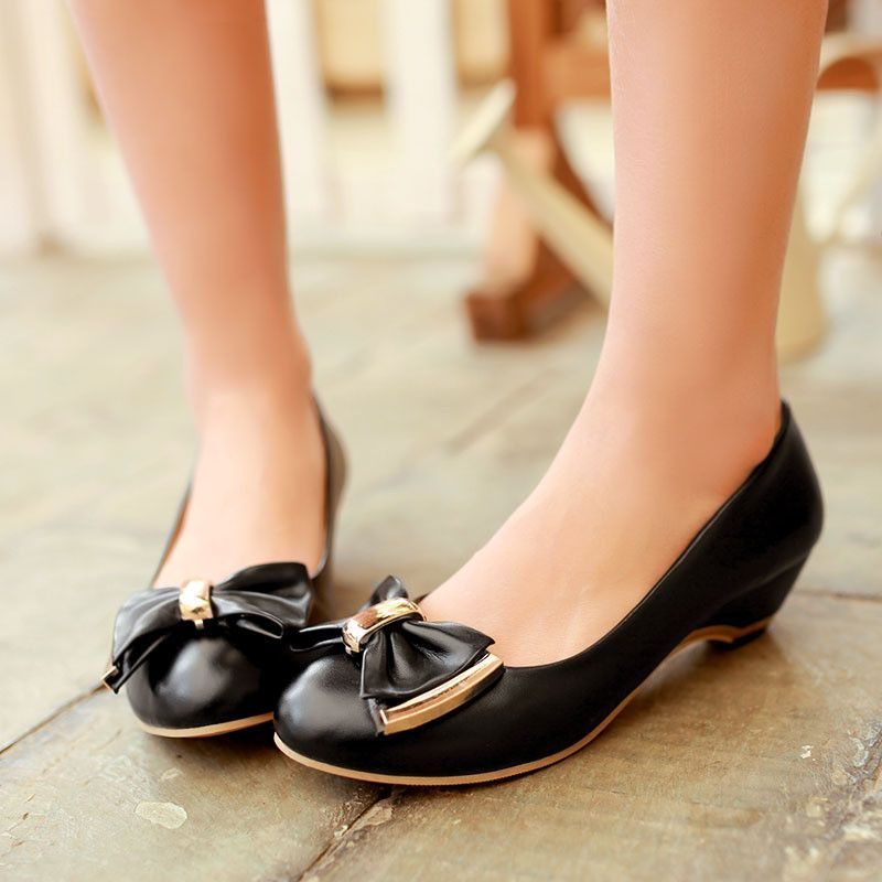 Bowtie Women Round Toe Wedges Shoes