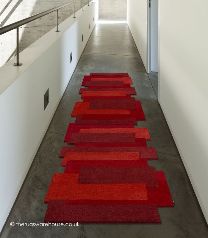 Red Steps Runner A Modern Unusually Shaped Luxury Hallway Rug Hand Tufted