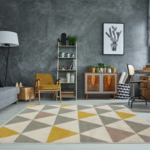 George Oliver Lyndhur Ochre Grey Rug Rugs In Living Room Room