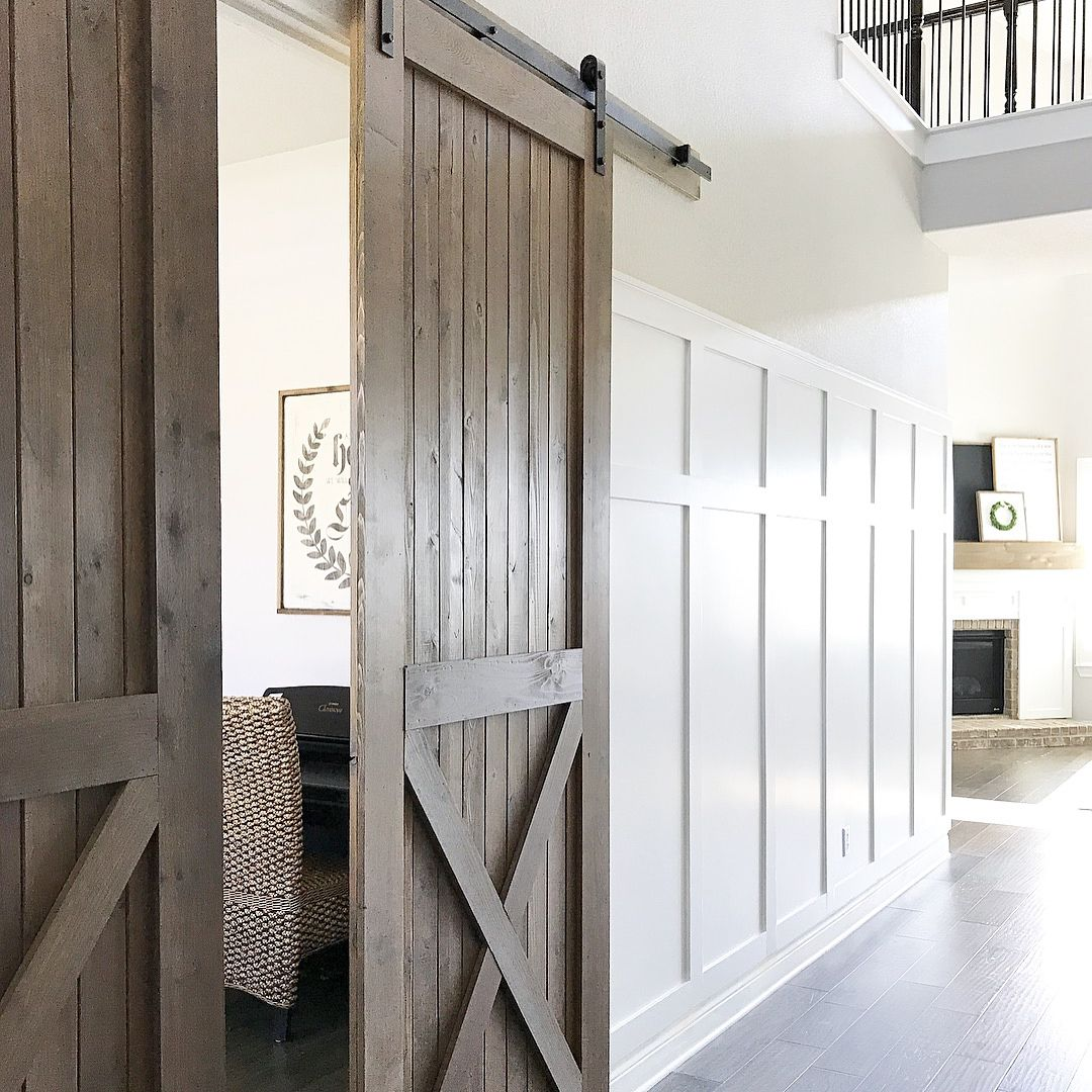 Swipe Our Faux Farmhouse Diy Barn Door Tutorial Materials 1x4 And 1x6 Cedar From Loweshomeimprovement Diy Barn Door Barn Door Interior Barn Doors