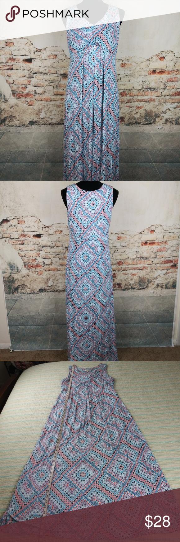 Talbots Lp Multicolor Blue Coral Jersey Maxi Dress Maxi Jersey Dress Maxi Knit Dress Maxi Dress [ 1740 x 580 Pixel ]