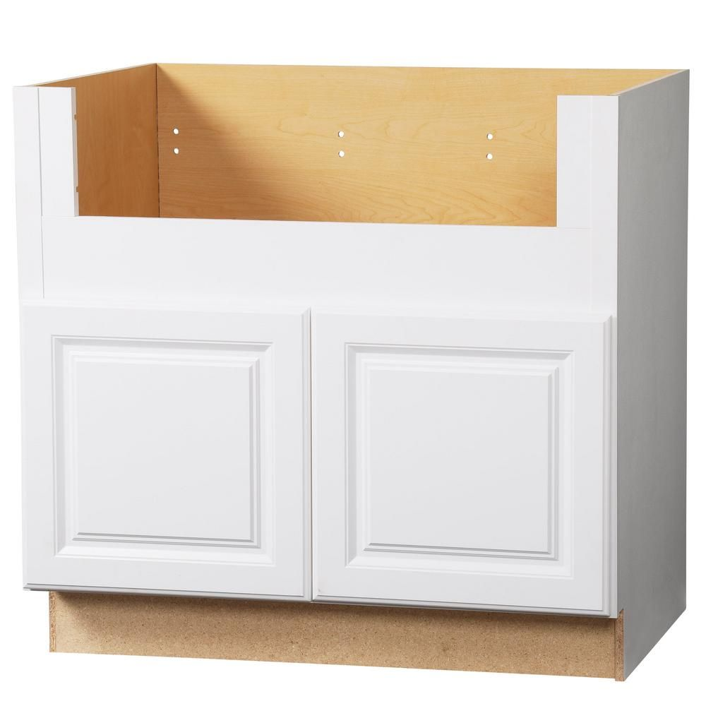 Design House Brookings Ready To Assemble 30x34 5x24 In Base Cabinet Style 2 Door Sink In White 56147 Apron Front Sink Base Cabinets Kitchen Cabinets With Sink