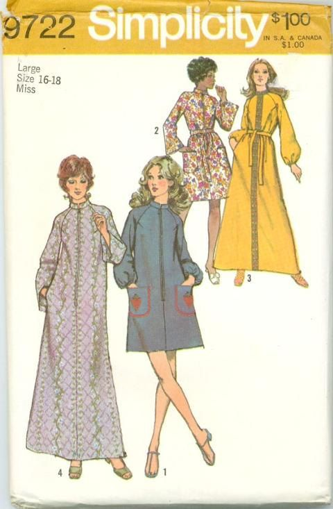 Simplicity 9722 Sewing Pattern 70s Housecoat House Dress Lounge Robe ...