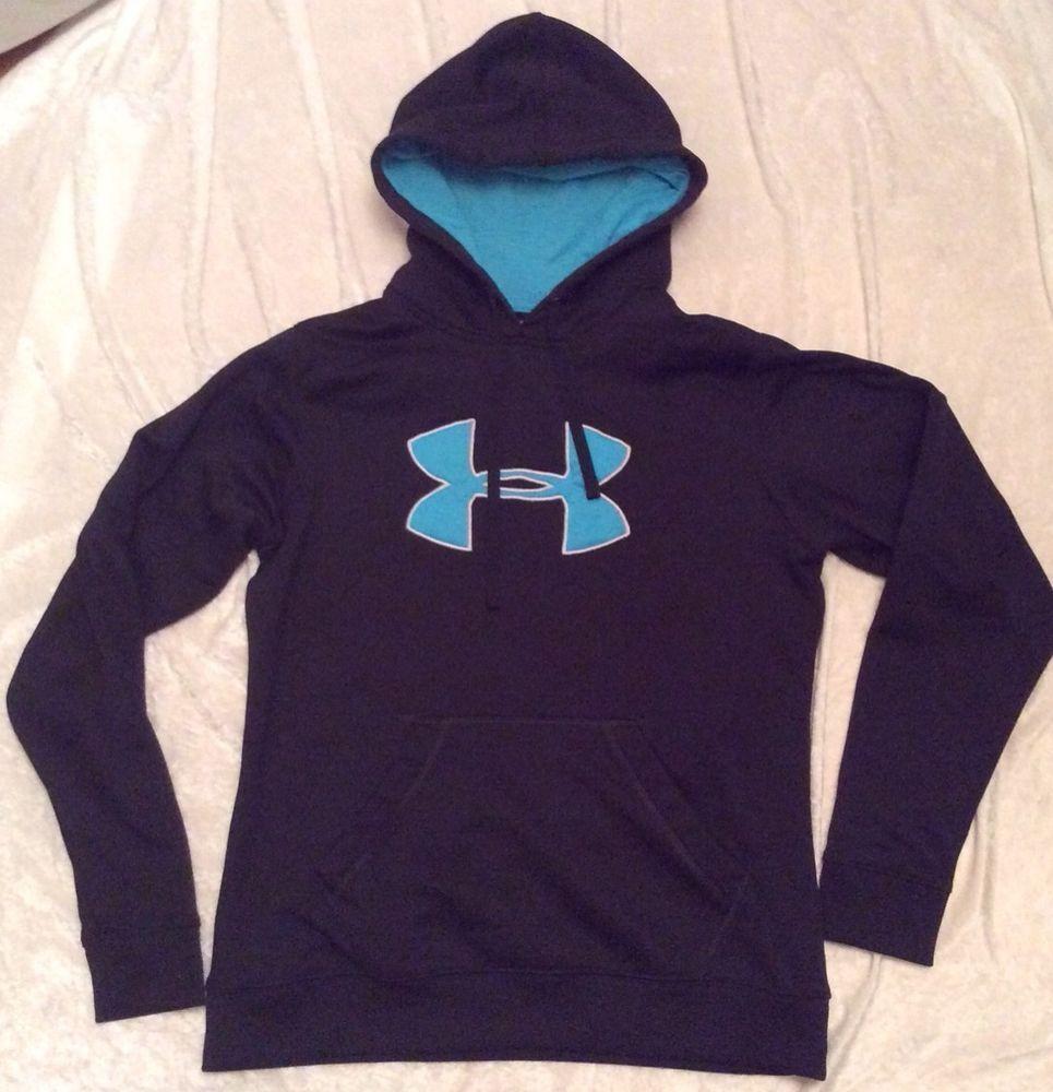 Under Armour Hoodie Large Sweatshirt Pullover Black Blue Logo Womens Underarmour Hoodie Hoodies Sweatshirts Pullover Sweatshirts [ 1000 x 965 Pixel ]
