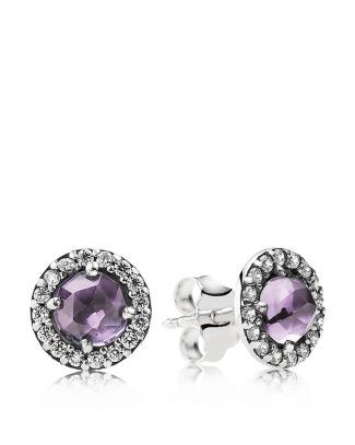 Pandora Earrings Sterling Silver Amethyst Cubic Zirconia Glamorous Legacy Stud Imported Style 290548am