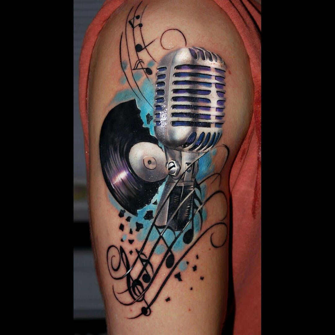 Tattoo uploaded by lightsout | #tattoo #dreamtattoo #Tattoodo #microphone #record #music #musical #musictattoo #ink #color | 160532 | Tattoodo