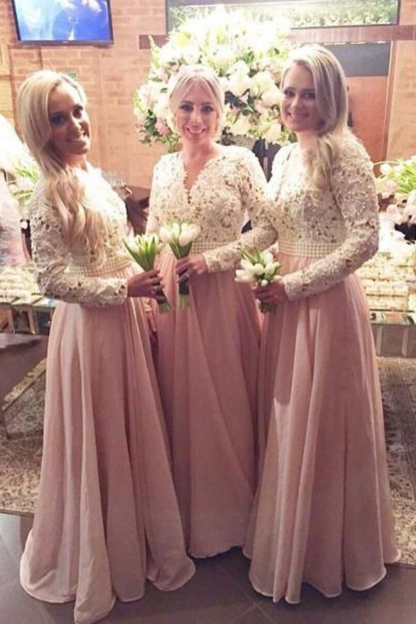 c94891d0f62 A Line Floor Length Long Sleeves V Neck Lace Chiffon Bridesmaid ...