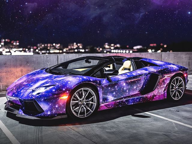 Galaxy Wrapped Lamborghini Aventador Roadster Amazing Cars