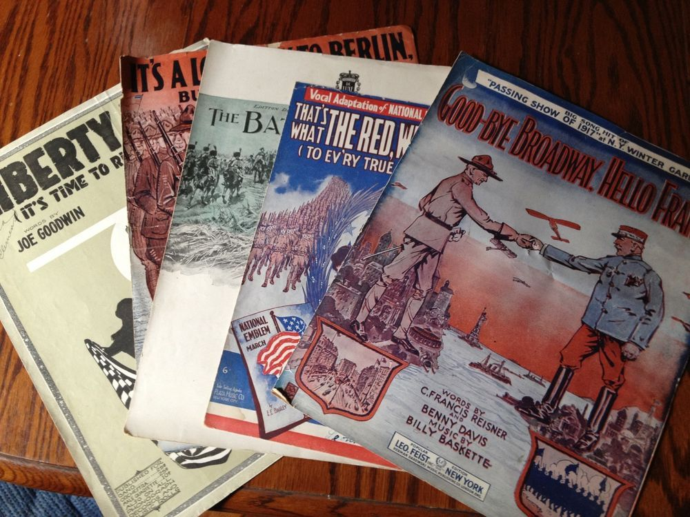 LOT 5 VINTAGE WWI WWII ERA SHEET MUSIC PATRIOTIC SONGS SOLDIERS ...