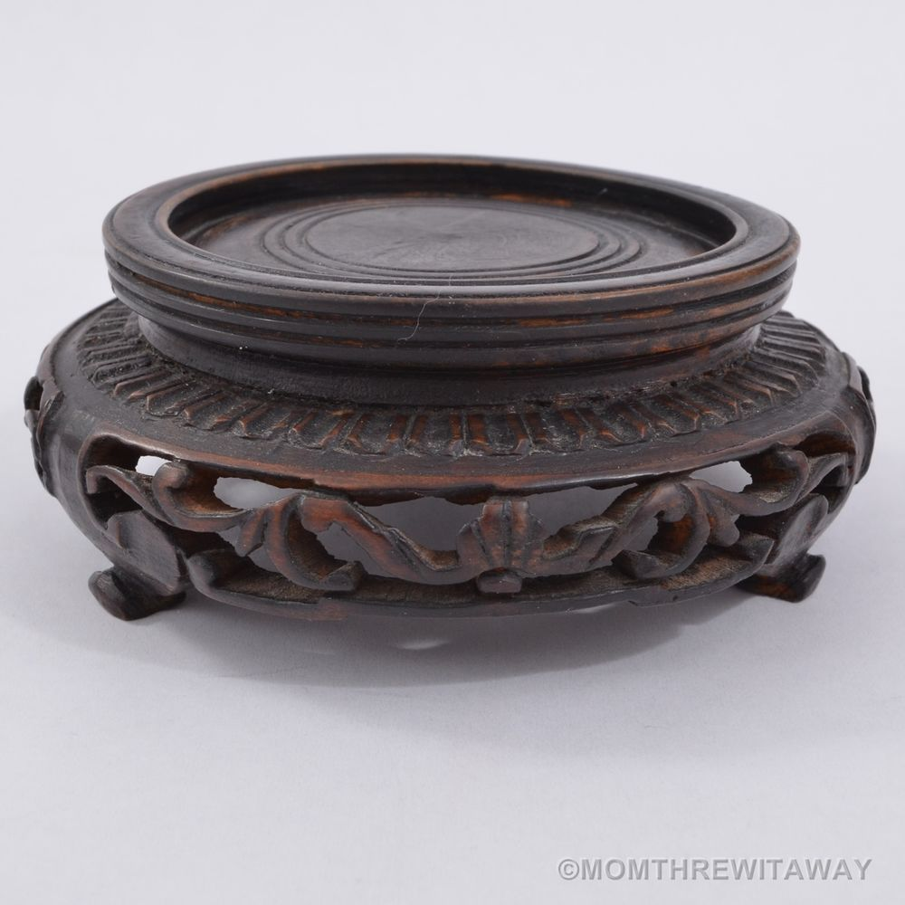 Old finely carved wooden chinese display stand openwork for bowl old finely carved wooden chinese display stand openwork for bowl vase censer floridaeventfo Images