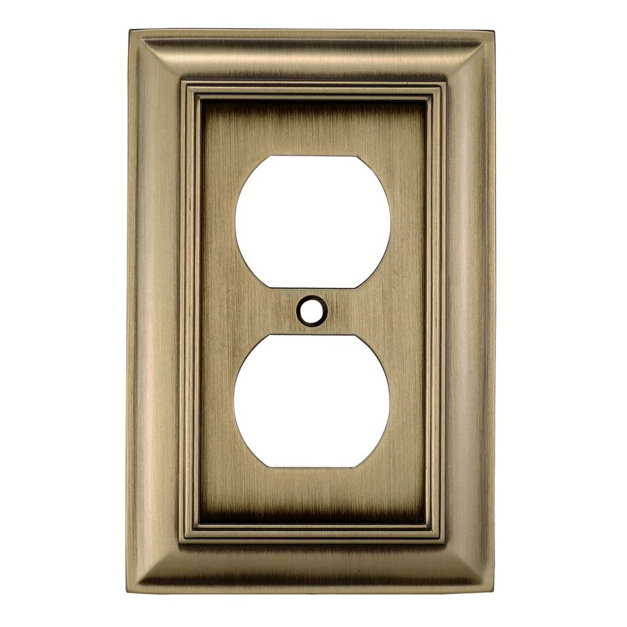 Lowes Wall Plates Allen  Roth 1Gang Antique Brass Single Round Wall Plate  Living