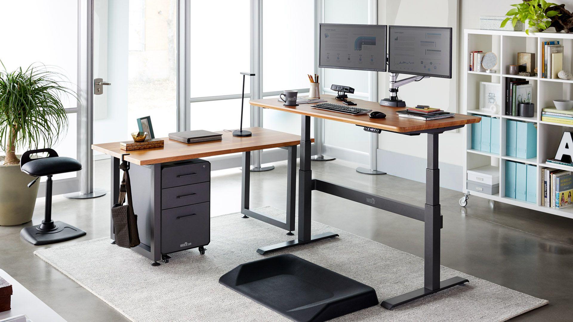 Electric Sit Stand Full Desk Solutions Varidesk Height Adjustable Electric Desks Standing Desk Design Standing Desk Office Diy Standing Desk Plans