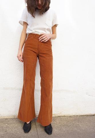 4330c4ff0733 Vintage 70s Bell Bottom Corduroy Pants Sz. 25 Waist