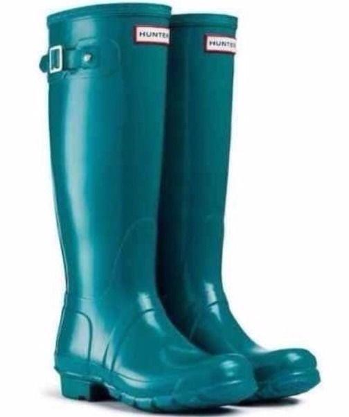 fffadca65c30 NEW HUNTER Rain Boots Tall Gloss 8 Women Blue Green Lagoon Dark Teal  Turquoise