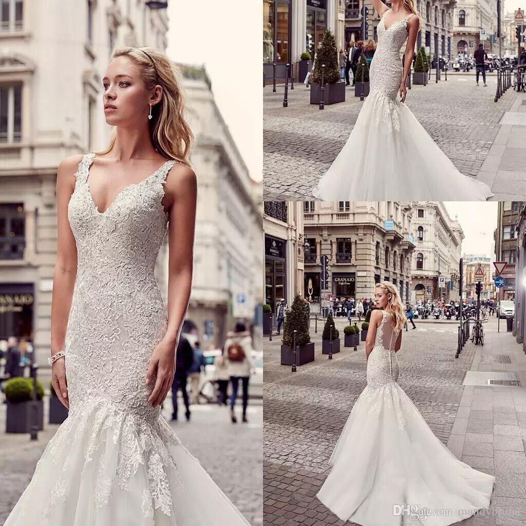 Lace dress styles 2018   New Eddy K Mermaid Wedding Dresses Lace Arabic Style Wedding