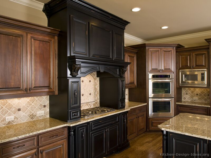 Dark rustic cabinetry kitchen cabinets traditional two for Kitchen cabinets 2 tone