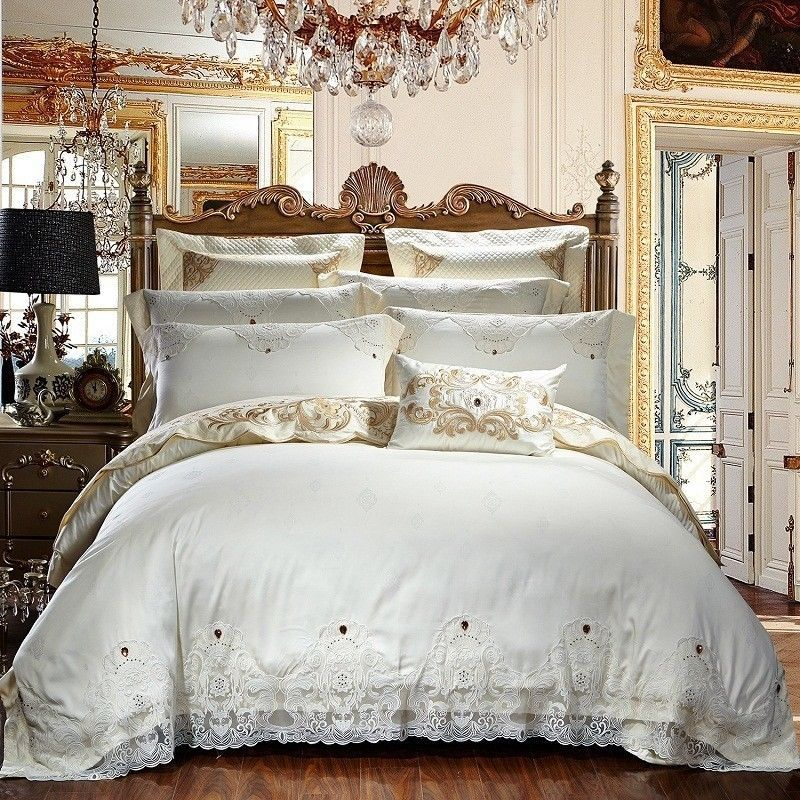 Details About 7pc Luxury Hotel 100 Cotton White European Style Queen King Duvet Cover Set King Duvet Cover Sets Duvet Bedding Sets Queen Bedding Sets