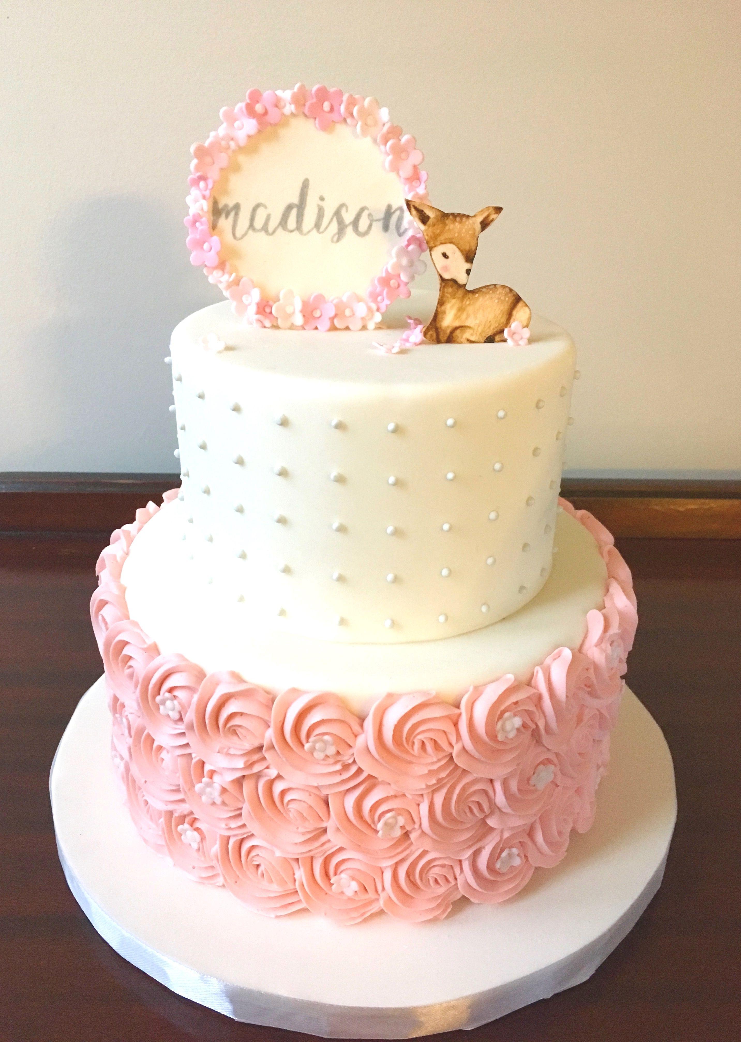 Cakes For Baby Girl : cakes, Rosette, Shower, Cakes, Girl,, Cake,