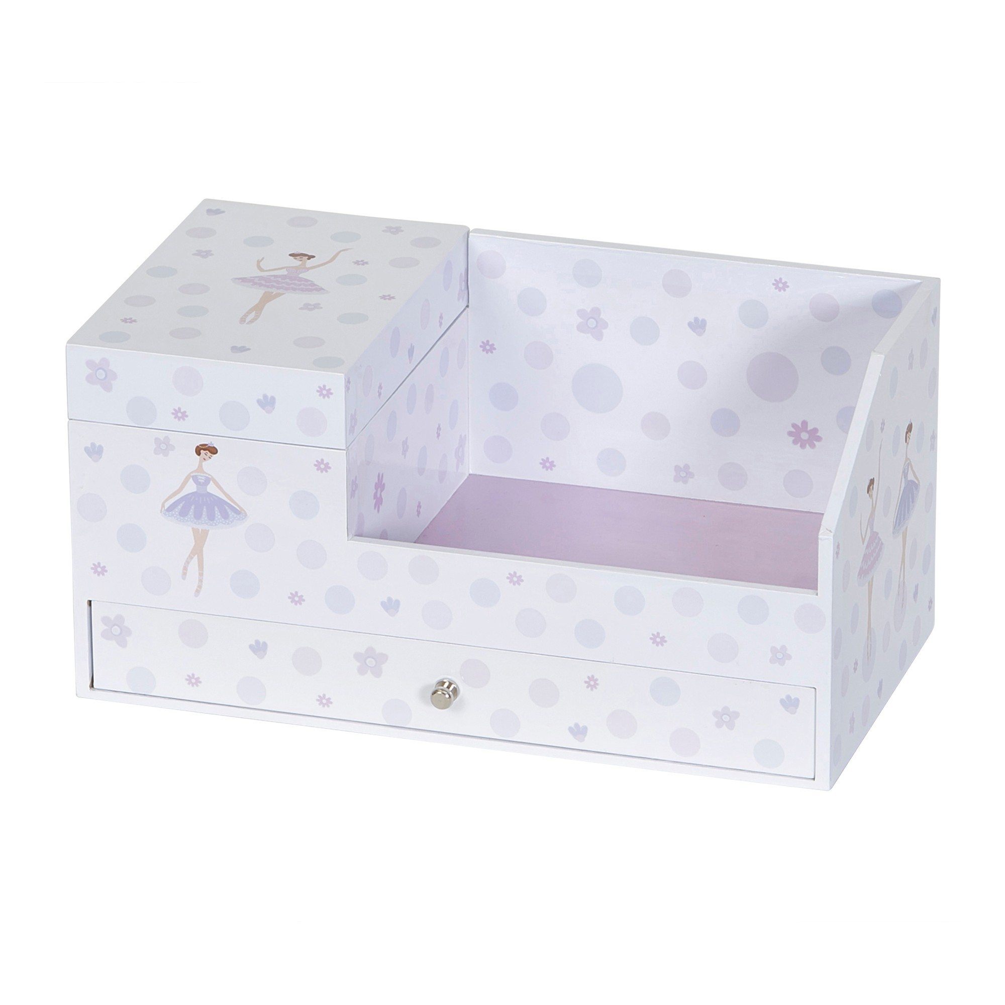 Mele Joss Girls Musical Ballerina Jewelry Box Organizer White