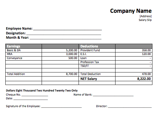 Pay Slip Templates Doc Simple Payslip Template Employee Payslip