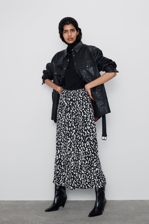 Animal print split skirt