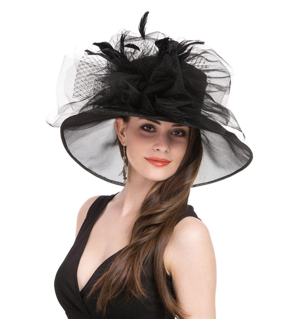 White Black GJ57 Women/'s Church Derby Fascinator Hats