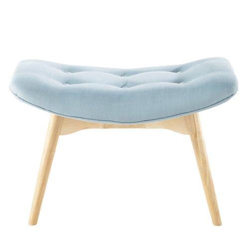 Skandinavische Fußbank aus blauem Stoff | Blue fabric, Interiors and ...