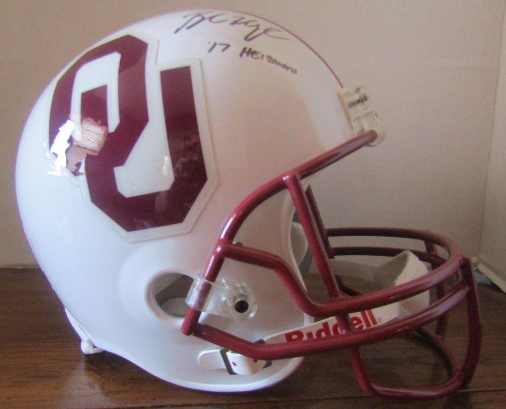 Baker Mayfield Signed Oklahoma Sooners Helmet White Maroon Logo COA ... 6e0b3d3a7