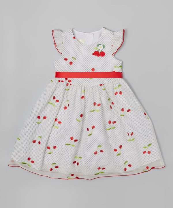 eadae7075bac Look at this Red   White Cherry Angel-Sleeve Dress - Toddler   Girls ...