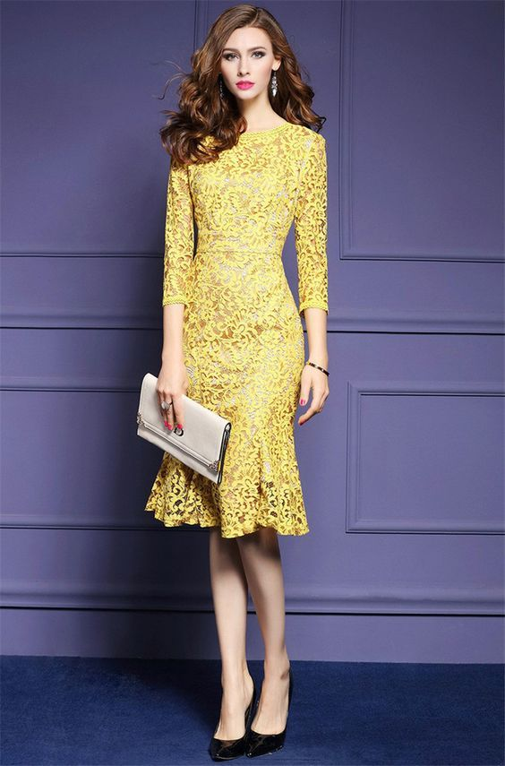 3/4 Sleeve Yellow Lace Elegant Office Business Party Bodycon Dress