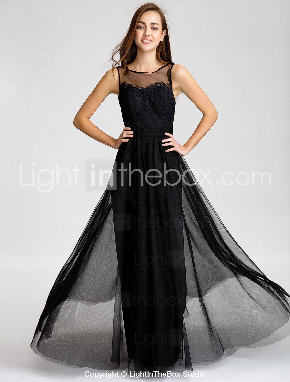 Lanting Bride® Floor-length Tulle Bridesmaid Dress A-line Bateau with Lace / Sash / Ribbon 4233337 2016 – $80.99