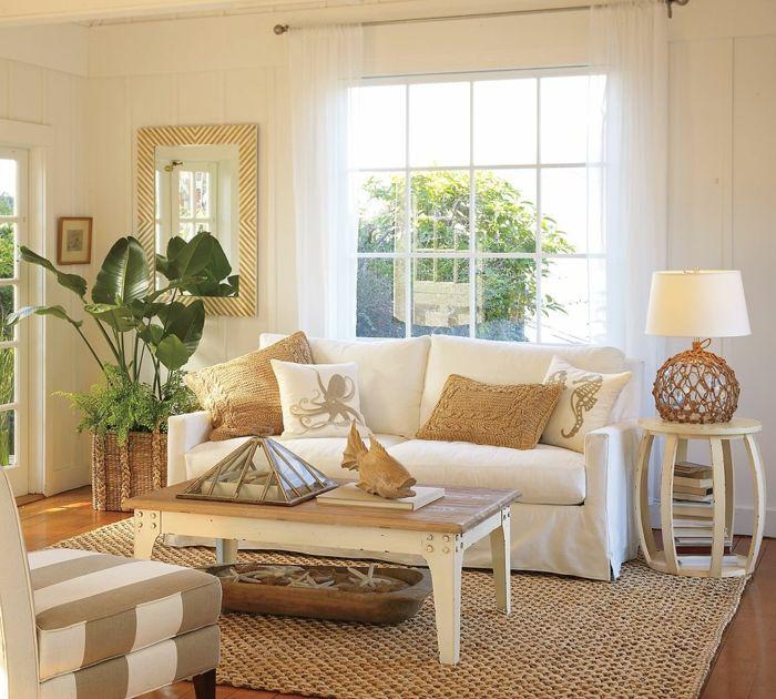 Landhausstil Möbel Wohnzimmer Einrichten Pflanze Beistelltisch